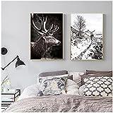 Pintura de lienzo, cartel de paisaje de invierno de naturaleza escandinava, impresión de cartel de montaña, ciervo, bosque, cuadro artístico de pared, estilo nórdico, decoración del hogar, sin marco
