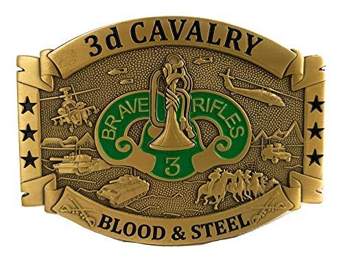 U.S. Army 3rd Cavalry, Armored Cavalry Regiment ACR'Brave Rifles' Brass Belt Buckle