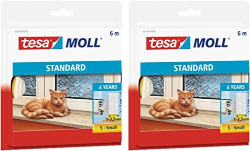 tesamoll® STANDARD I-Profil Schaumstoffdichtung für Fenster und Türen (6mx9mmx4mm / 2er Pack, weiß)
