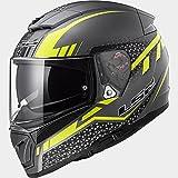 Casco moto integrale Breaker LS2 FF390 titanium yellow flou scooter predisposto Bluetooth taglia XL