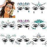 ZWOOS 8 Piezas Joyas Pegatinas Cara, Face Gems Stickers, Tatuajes Cristal Temporales Pegatinas, Face Jewels para Fiestas Shows Make Up Maquillaje
