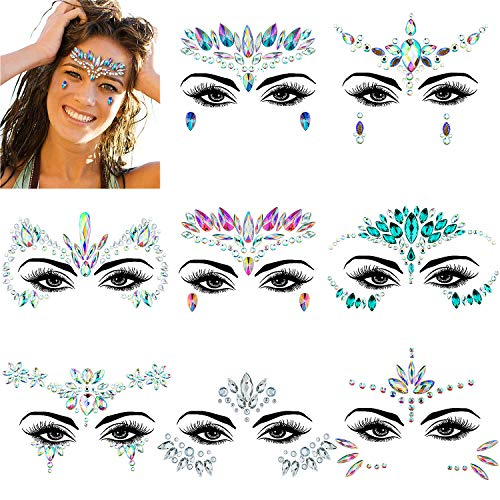 ZWOOS 8 Piezas Joyas Pegatinas Cara, Face Gems Stickers, Tatuajes Cristal Temporales Pegatinas, Face Jewels para Fiestas Shows Make Up Maquillaje