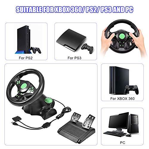 Diyeeni Rennsimulator Lenkräder mit 2 Pedalen Vibration Feedback, 26cm Durchmessender Lenkkranz rutschfest Griff, 180° Rotationswinkel, Geeignet für Xbox 360, PS2 PS3 / PC