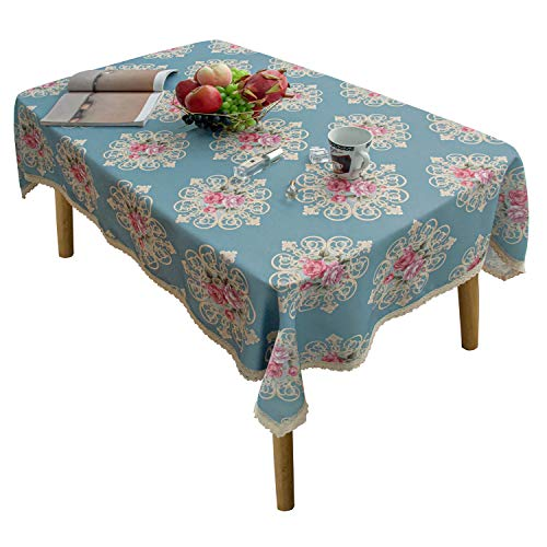 Yeession Floral Print Polyester Rectangle Tablecloth 60 x 84 Inch Stain Resistant and Waterproof Wine Tablecloth for Kitchen Dining Indoor Outdoor Buffet Tabletop Decoration ( Peacock Blue )