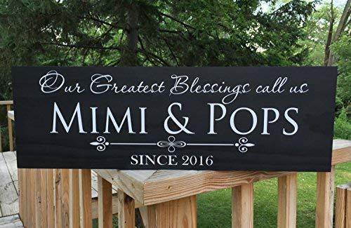 SIGNS Grootste zegeningen Bel ons Mema Nana Gift Pop Pop Vaders Dag Gepersonaliseerde Grootouders Gift Mimi Gift Wood Grappige Oma Opa 8x22