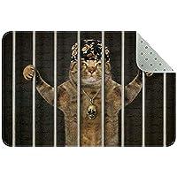 エリアラグ軽量 刑務所に投獄されたターバンの悪い猫 フロアマットソフトカーペットチホームリビングダイニングルームベッドルーム