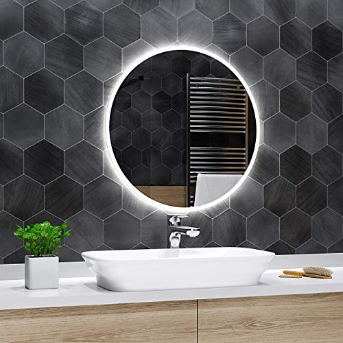 Alasta Design Lichtspiegel Rund Mit Led | 60 cm | Delhi - Badspiegel Led | 17 Zubehör zu Wählen Auf Größe
