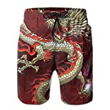 YongColer Mens Swim Trunks Quick Dry Beach Shorts Board Shorts Swimwear Bathing Suits with Pockets (Red Chinese Dragon Dragon Ball Art,L)