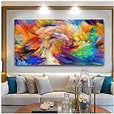 Mxjjjlop Cuadros Decoracion Dormitorios Mural Abstracto Con Colores Del Arco Iris Salpicando En El Lienzo Para Carteles De Pared E Impresiones De Cuadros 70X140Cm Sin Marco