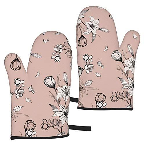 ZVEZVI Ofenhandschuhe Lily Monotone Auf Pastellrosa Nude Silhouette Hitzebeständig 1 Paar rutschfeste Küchenofenhandschuhe zum Kochen Backen Grillen Grilltopfhalter