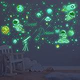 Daohexi 842 pezzi adesivi da Parete Fluorescenti, Luna Fluorescente Astronauta Razzi Solare Sistema Murali Sticker, ideale per camerette Bambini Camera letto, Stelle fosforescenti per il soffitto