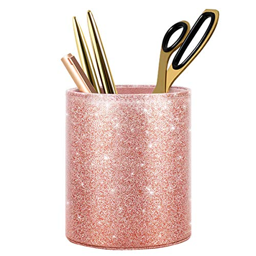 WAVEYU Pen Holder for Desk Decor Pencil Cup for Girls Kids Durable Ceramic Desk Organizer Makeup Brush Holder,Shinny Rose Gold