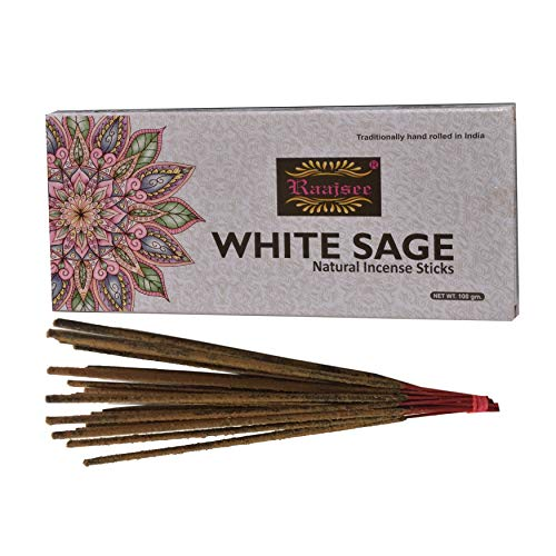 raajsee White Sage Incense Sticks 100 GMS Pack- 100% Pure Organic Natural Hand Rolled Free from Chemicals-No Dipping -Perfect for Church,Aroma Therapy,Relaxation,Meditation,Positivity,Healing