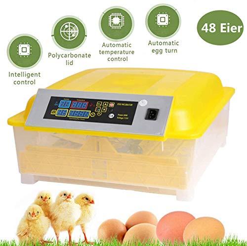 Oppikle 48/56 Eier Intelligentes digitales Brutmaschine Brutkasten mit LED Temperaturanzeige und Feuchtigkeitsregulierung,Inkubator Vollautomatische Brutmaschine (48 Eier Gleb)
