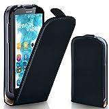 MoEx® Flip Cover con Chiusura Magnetica Compatibile con Huawei G610 | Finta Pelle, Nero