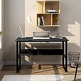 Escritorio de esquina en forma de L para ordenador, de madera DM, con 2 estantes, para oficina/hogar, oficina, escritorio ampliado, 140 x 50 x 75 y 140 x 40 x 75 cm (negro)