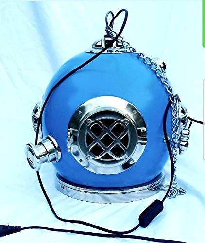 Vintage Diving Helmet Hanging Lamp Maritime Sea Navy Blue Antique Scuba Divers Helmet Replica