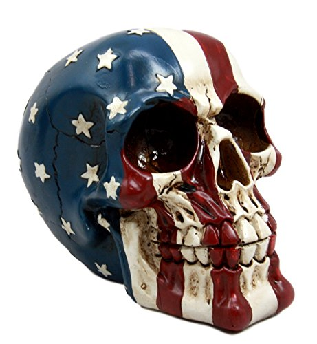 Ebros Patriotic US American Flag Star Spangled Banner Skull Decorative Figurine 5.5'Long Macabre Collectible Statue Historical Pride And Prejudice Freedom Decor of Skulls or Halloween Themed Sculpture