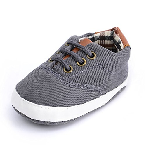 BENHERO Baby Boys Girls Canvas Toddler Sneaker Anti-Slip First Walkers Candy Shoes 0-24 Months 12 Colors(11cm,0-6 Months Infant, B/Dark Grey
