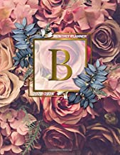 2020-2024 Monthly Planner: Initial Monogram Letter B Five Year Organizer with 60 Months Spread View. Nifty 5 Year Calendar, Agenda, Journal and Business Schedule Notebook - Gold Red Roses Floral Print