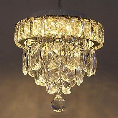 Arxeel Modern Crystal Chandelier Lighting, Dimmable Temperature Adjustable LED Ceiling Lighting Fixture Flush Mount for Bedroom, Hallway, Bar, Kitchen, Aisle