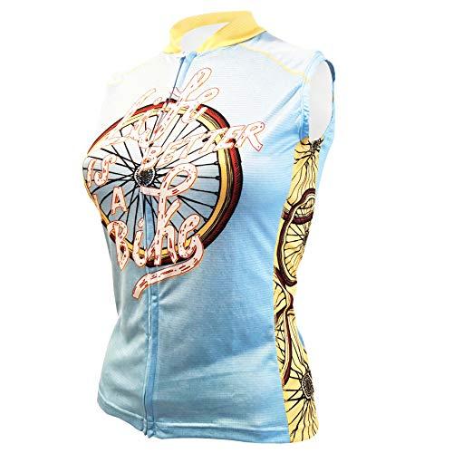 CORVARA BIKE WEAR Women's Life is Better Cycling Sleeveless Bike Jersey (Medium) Blue