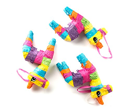 """Neliblu Set of 3 Mini Donkey Pinatas 4""""x7"""" inches, Fiesta Decorations, Cinco de Mayo Pinata, Party Favors, Party Supplies and Centerpieces"""