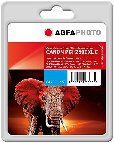 AgfaPhoto Cartucho de Tinta Equivalente a Canon PGI-2500XL C, 9265B001, 1755 páginas, 19,3 ml, Cian/Azul (para Uso en Canon Maxify iB4050)