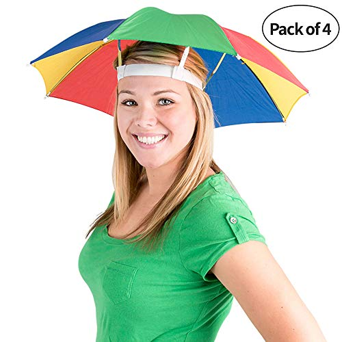 Bedwina Umbrella Hat (Pack of 4) - 20 Inch, Hands Free, Funny Rainbow Colorful Beach Party Hats, Adjustable Size Fits All Ages, Kids, Men & Women