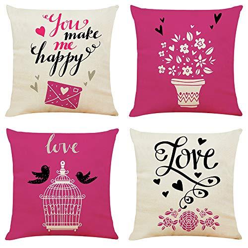 fundas cojin,Romántico juego de cuatro piezas de funda de almohada de algodón y lino de San Valentín, funda de almohada para automóvil