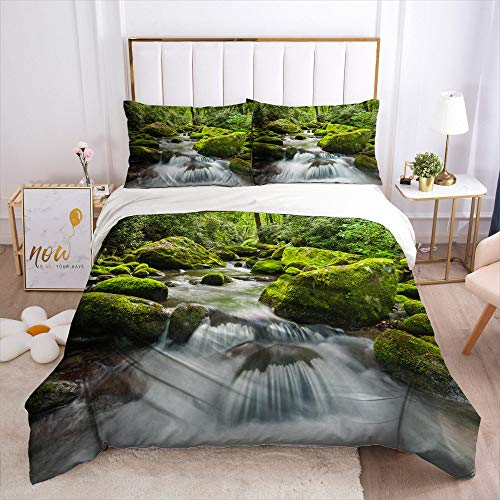 Printed Quilt,Lake Running Water 3 Pieces 3D Pattern Poly Cotton Quilt Adults Teens Bedding Dorm Zipper Closure Pillowcases Bed Decorations,240X220