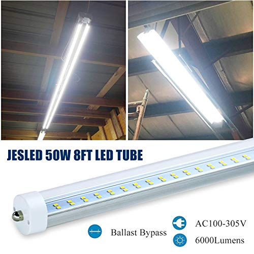 JESLED T8/T10/T12 8FT LED Tube Light Bulbs, 50W 6000LM, 5000K Daylight White, 8 Foot Single Pin FA8 LED Fluorescent Replacement for Shops Garage Light Fixtures, Ballast Bypass