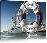 Rettungsring vor Schiff Format: 60x40 auf Leinwand, XXL riesige Bilder fertig gerahmt mit Keilrahmen, Kunstdruck auf Wandbild mit Rahmen, günstiger als Gemälde oder Ölbild, kein Poster oder Plakat