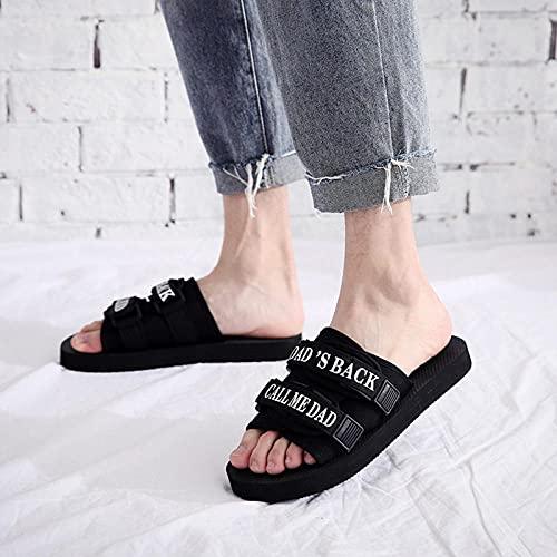 Yumanluo Chanclas Hombre Verano Zapatillas Flip Flops Sandal Zapatos de Playa y Piscina,Zapatos de Playa Ligeros con Hebilla-Negro_43-44