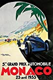 HSE Grand Prix de Monaco Poster 1933French Vintage Car