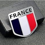 A&Z Custom Aluminum France Flag 3D Emblem Sticker Decal for Car, Bike, Truck (Shield Shape 2x2 inch)