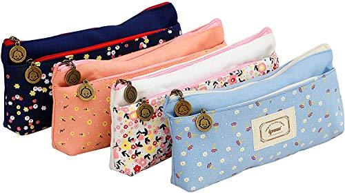 Ipow® sac de toile crayon cosmétique sac trousses scolaire, Multicolor, Lot de 4