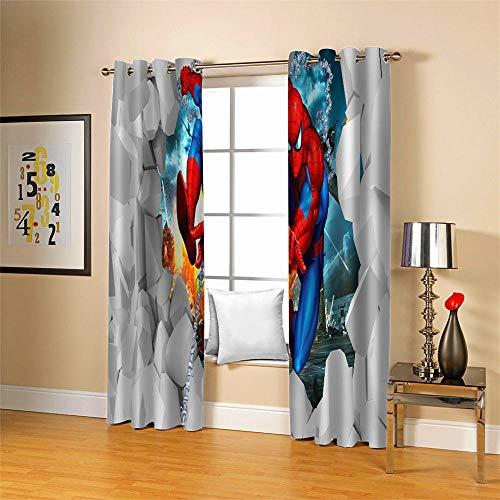 Gardinen Blickdicht Spider Man 2er Set Verdunklungsgardine Ösen Gardinen Vorhang lichtundurchlässig Wärmeisolierung Polyester Schlafzimmer 150x166cm (BxH)