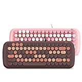 Gaming Wired Mechanical Keyboard, Retro Round Keycap for Notebooks, Desktop Computers,Pink