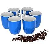 Van Well Vario 6er Kaffeetassen-Set I Porzellan-Tasse groß - in div. fröhlichen Farben I pflegeleichtes Tassen-Set - für Spülmaschine & Mikrowelle geeignet I 300 ml Kaffeebecher Blau 6 Stück