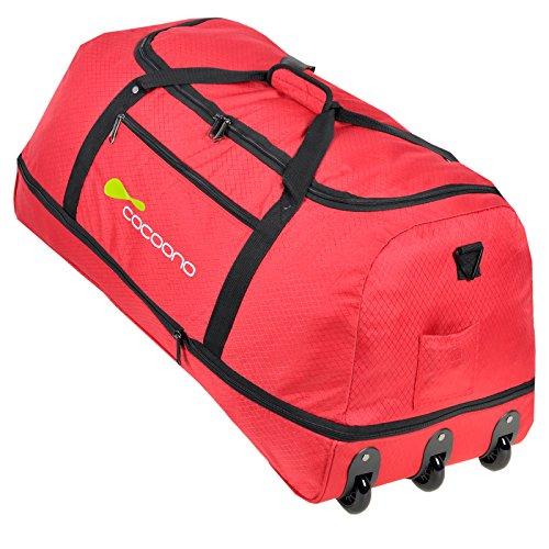 XXL Rollenreisetasche COCOONO 100-135 Liter Volumen Reisetasche faltbar Trolley Koffer Storm Tasche(Devil Red (Rot))
