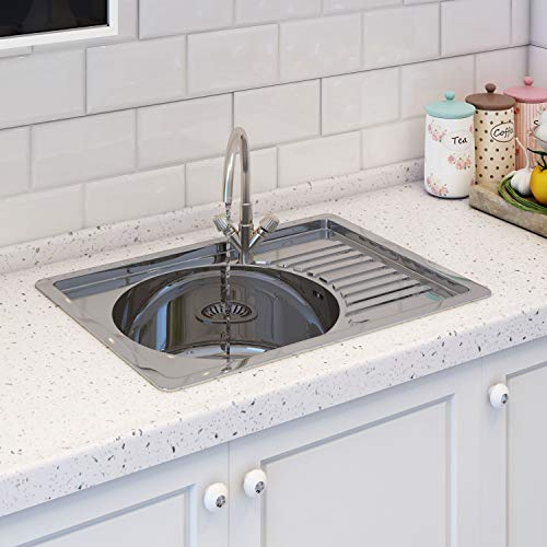 Kitchen Sink with Edge Plate, Inset Stainless Steel Single Bowl Reversible Drainer with Waste Pipes Clips (Style 2)