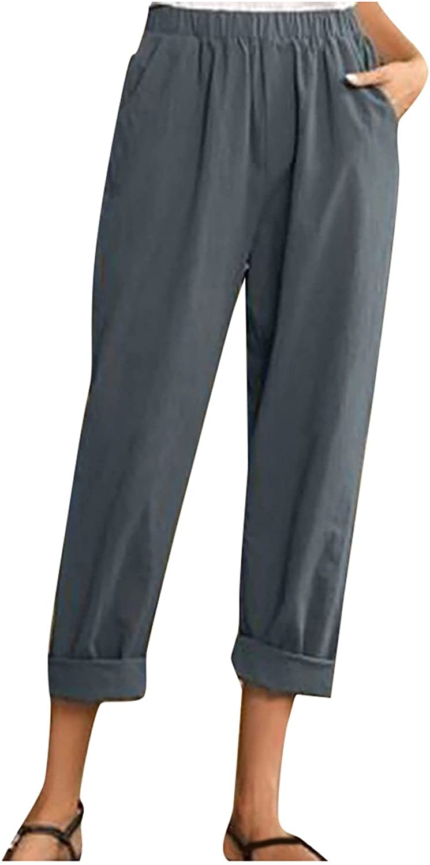 2021 Women Summer Pants Casual Pure Color Elastic Waist Linen Pockets Ankle Pants