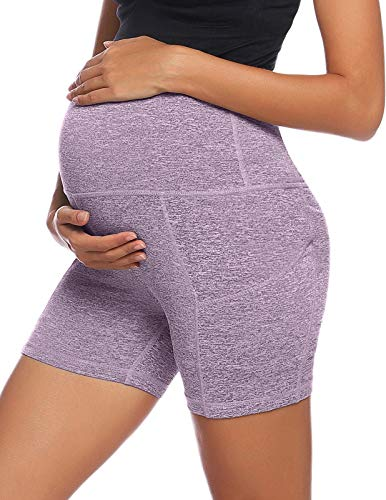 Women's Maternity Yoga Shorts Over Bump Workout Running Athletic Pants