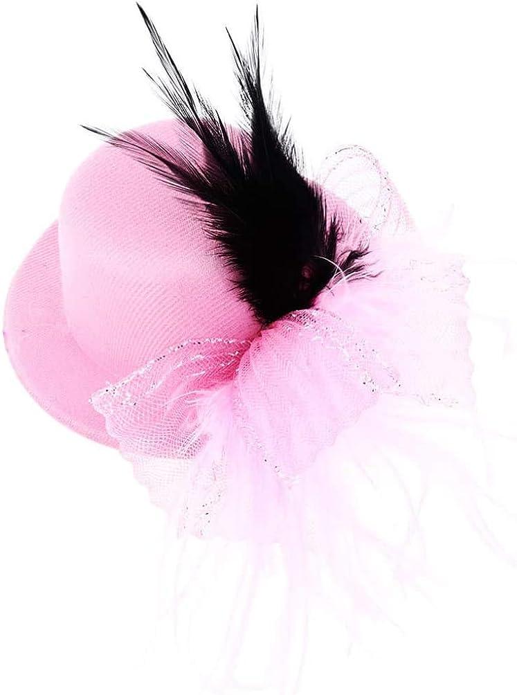 FRECI Mini Fascinators Hats Tea Party Wedding Headband Feather Cocktail Headwear Hair Clip for Women Girl Wedding Bridal Hair Accessories - Pink
