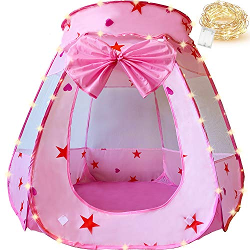 KingBee Pink Princess Pop Up Play Tent Ball Pit with Lights, Toys Gifts for Kids Girls Boys 3 4 5 6 Year Old, Baby and Toddler Will Love It. Easy Pop Up No Assembly Required, Indoor Outdoor Use (Pink)