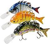 Rose Kuli Fishing Lures for Bass Multi Jointed Lifelike Crankbait 3 Pack Fishing Tackle Kits