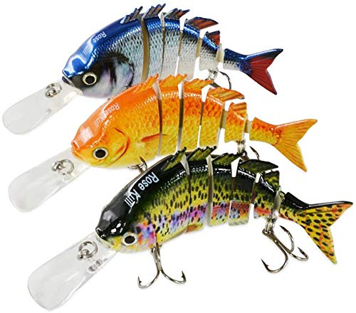 Rose Kuli Fishing Lures for Freshwater and Saltwater Bass Multi Jointed Lifelike Fishing Lures 3 Pack Fishing Tackle Kits