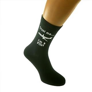 Trust me I'm a Pilot and Plane Image Printed on Black Mens Cotton Rich Socks