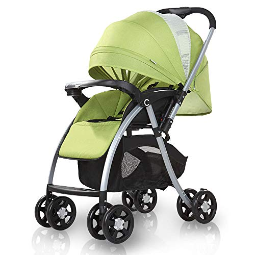 KimCC Pushchair Car Seat + Carrycot, Mattress from Birth, Buggy with Lying Function, Large Basket, Small Folding Way High Landscape Sitting and Lying Folding Portable Shockproof Travel Baby Carriage